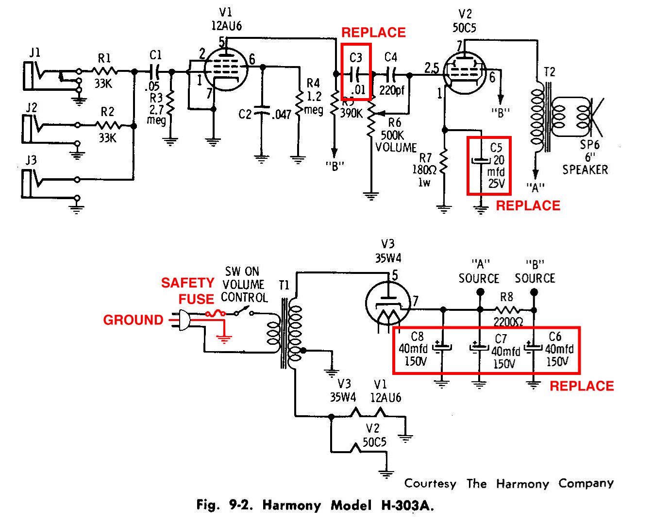 harmony h303a amplifier schematic rebuilding a vintage tube amplifier slackpropagation High-End Tube Amp Schematics at alyssarenee.co